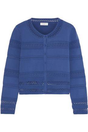 SANDRO Crochet and jacquard-knit cardigan
