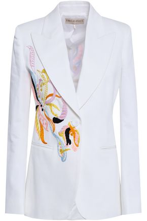 EMILIO PUCCI Embroidered cotton-blend twill blazer