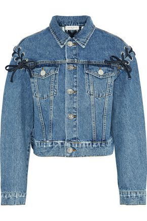 SANDRO Lace-up faded denim jacket