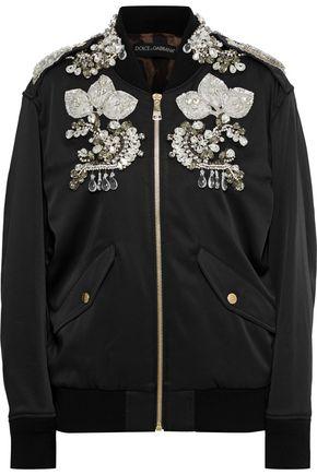 DOLCE & GABBANA Embellished faille bomber jacket