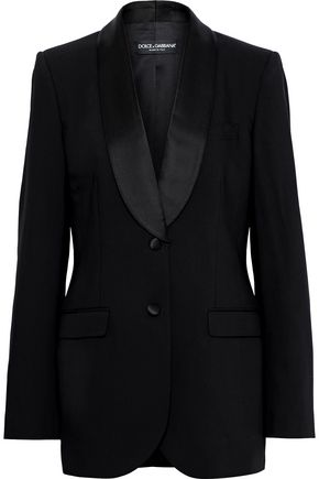 DOLCE & GABBANA Satin-trimmed wool-blend blazer