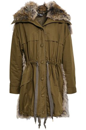 STELLA McCARTNEY Cotton-gabardine and faux fur-paneled hooded jacket