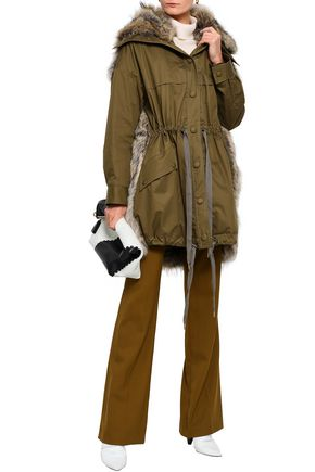STELLA McCARTNEY Cotton-gabardine and faux fur-paneled hooded jacket