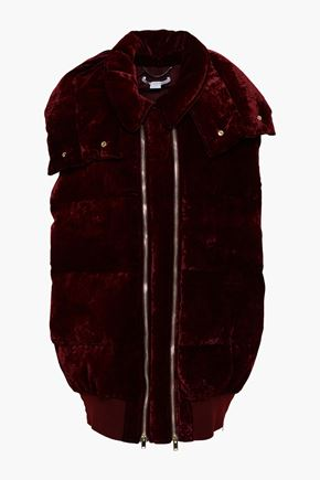 STELLA McCARTNEY Quilted velvet hooded vest