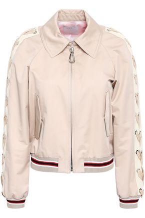 SANDRO Lace-up cotton-shell bomber jacket