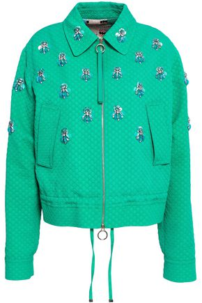 EMILIO PUCCI Embellished cotton, wool and silk-blend matelassé jacket