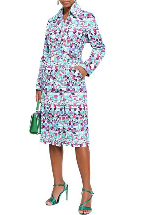 EMILIO PUCCI Double-breasted printed cotton-blend trench coat