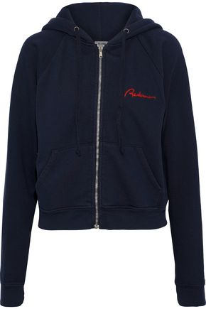 RE/DONE by LEVI'S Embroidered French cotton-terry hoodie