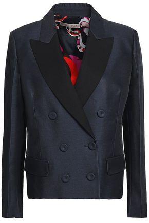 EMILIO PUCCI Satin-trimmed wool and silk-blend twill blazer