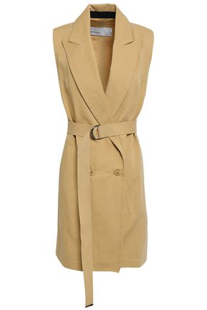 GENTRYPORTOFINO Belted cotton and linen-blend vest