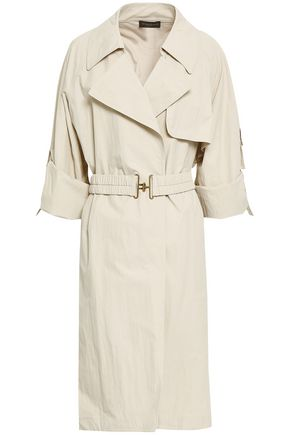 DONNA KARAN Crinkled shell trench coat