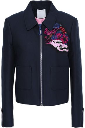 SANDRO Embellished embroidered cotton-blend jacket