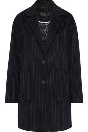 DONNA KARAN Pinstriped wool-blend felt coat