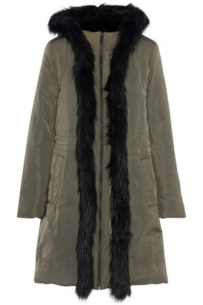 DONNA KARAN Convertible faux fur-trimmed shell hooded down jacket