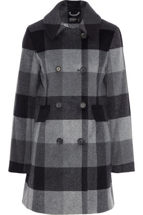 DONNA KARAN Double-breasted checked wool-blend coat