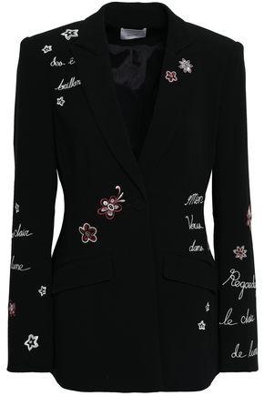 CINQ À SEPT Embroidered crepe blazer