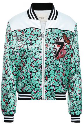 MAJE Embroidered floral-print satin bomber jacket