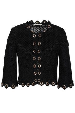 MAJE Eyelet-embellished guipure lace jacket