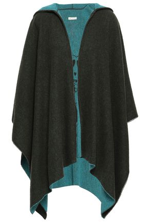 MAJE Jacquard-knit hooded cape