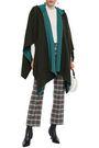 MAJE Jacquard-knit hooded cape