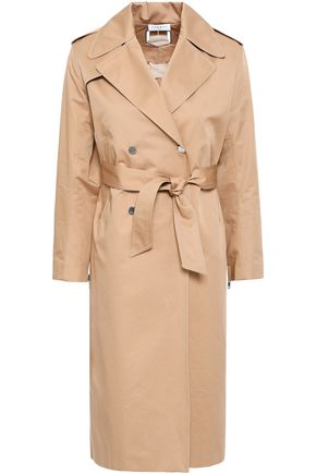 SANDRO Lace-up cotton-twill trench coat