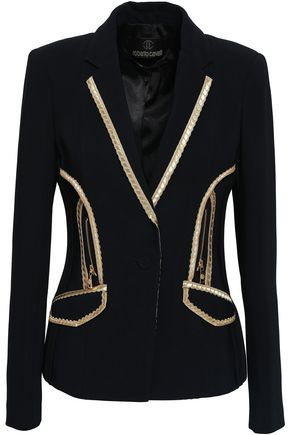 ROBERTO CAVALLI Metallic-trimmed crepe blazer