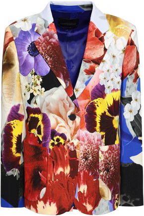 ROBERTO CAVALLI Floral-print crepe blazer