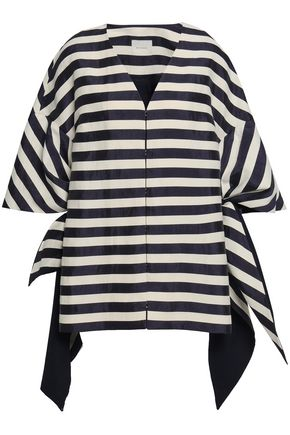 DELPOZO Bow-detailed striped linen-blend coat