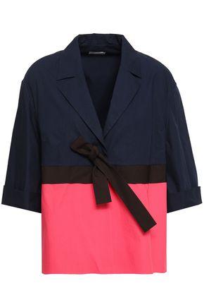 DELPOZO Bow-detailed two-tone cotton-poplin jacket