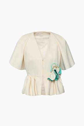DELPOZO Floral-appliquéd cotton-jacquard peplum jacket