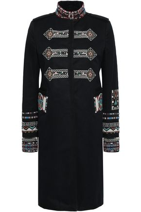 VALENTINO Bead-embellished cotton-gabardine coat