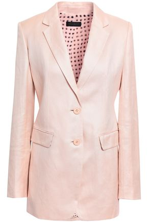DONNA KARAN Linen and cotton-blend twill blazer