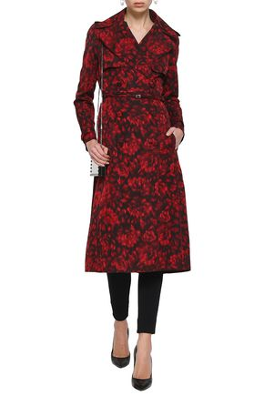 VALENTINO Belted printed cotton and silk-blend trench coat