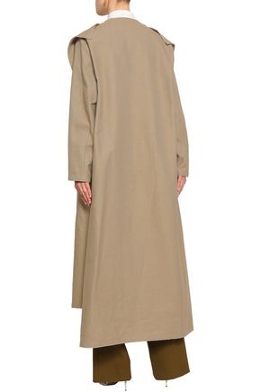 VALENTINO Frayed cutout cotton and linen-blend coat