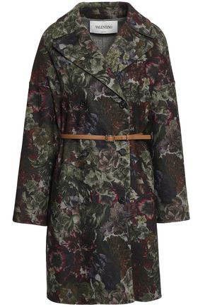 VALENTINO Double-breasted belted floral-print wool-blend felt coat