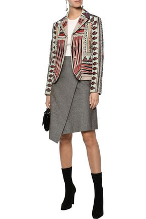 VALENTINO Suede-appliquéd bead-embellished wool and cashmere-blend jacket