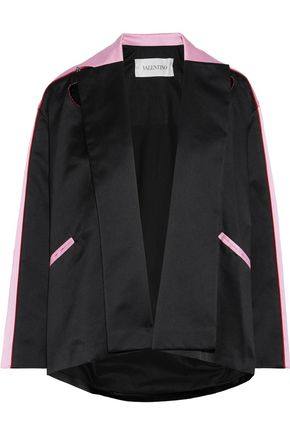 VALENTINO Appliquéd two-tone silk-satin jacket