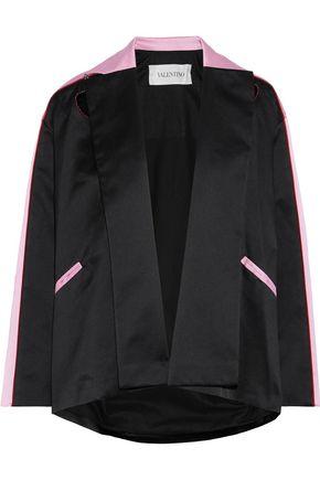 VALENTINO Appliquéd two-tone silk-satin jacket