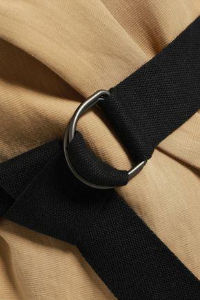 GENTRYPORTOFINO Belted cotton and linen-blend vest