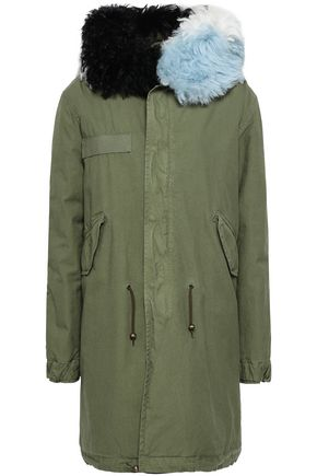 MR & MRS ITALY Shearling-trimmed cotton-canvas hooded parka