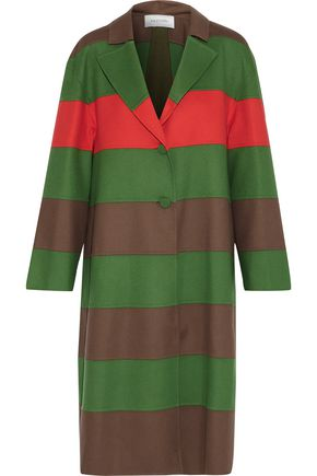 VALENTINO Paneled striped wool-felt and wool-blend coat
