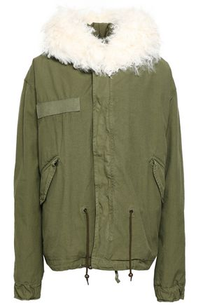 MR & MRS ITALY Shearling-trimmed cotton-canvas hooded jacket