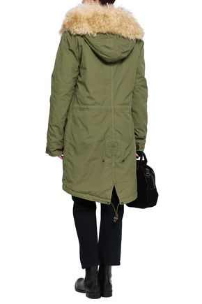 MR & MRS ITALY Shearling-trimmed cotton-blend gabardine hooded coat