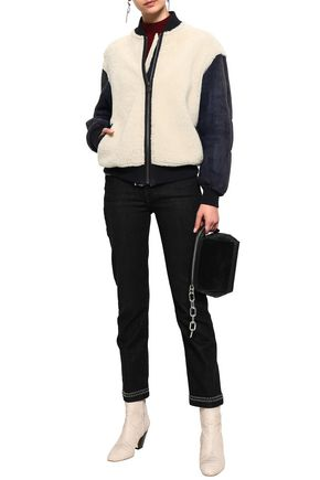 MR & MRS ITALY Paneled shearling bomber jacket