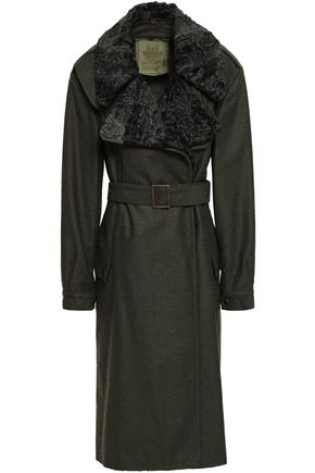 Shearling Trimmed Wool Blend Felt Trench Coat by Mr & Mrs Italy
