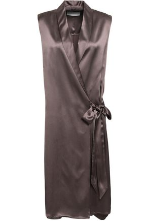 MICHELLE MASON Wrap-effect silk-charmeuse gilet