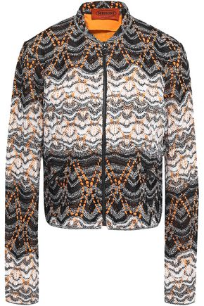 MISSONI Cropped marled crochet-knit jacket