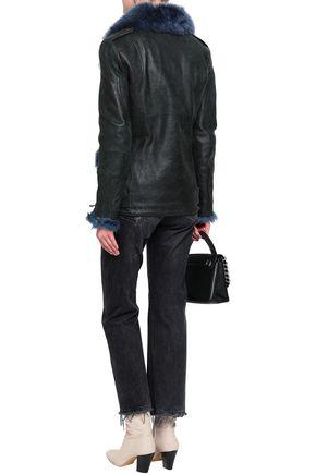 MR & MRS ITALY Shearling-trimmed leather biker jacket