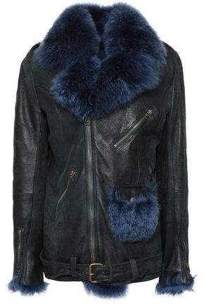 MR & MRS ITALY Shearling-trimmed leather biker jacket