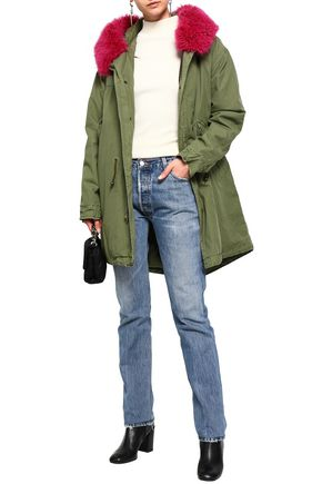 MR & MRS ITALY Shearling-trimmed cotton hooded jacket